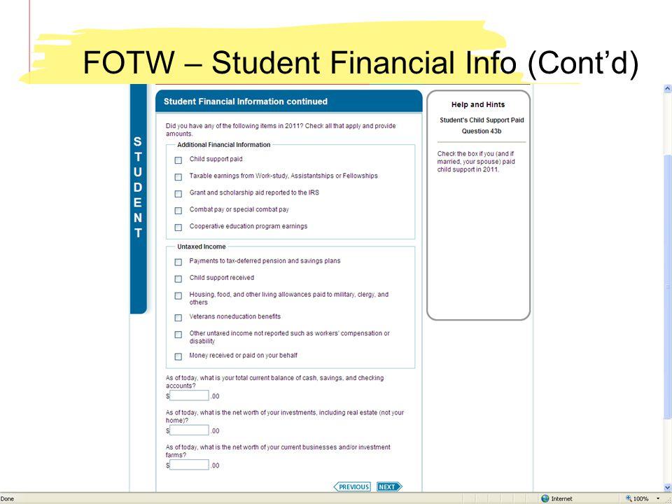 FOTW – Student Financial Info (Contd)