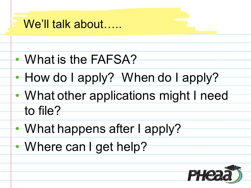 Well talk about….. What is the FAFSA. How do I apply.