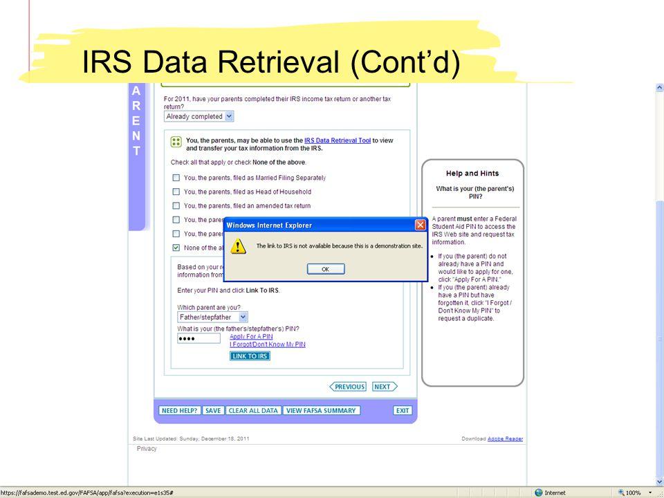 IRS Data Retrieval (Contd)