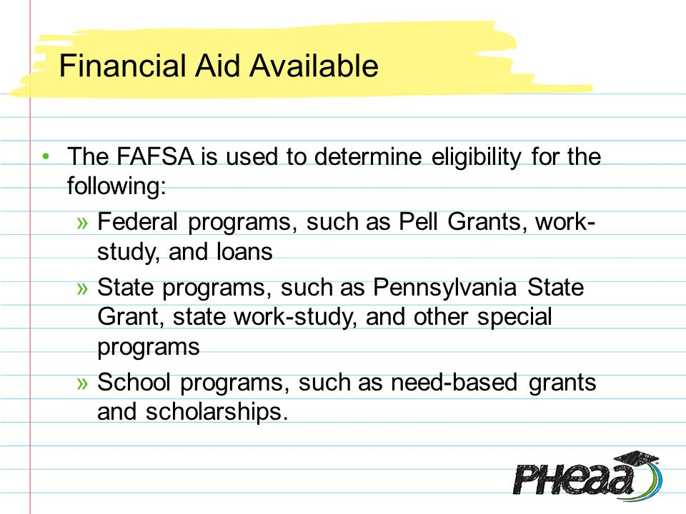 Financial Aid Available Know what form(s) your school(s) require.