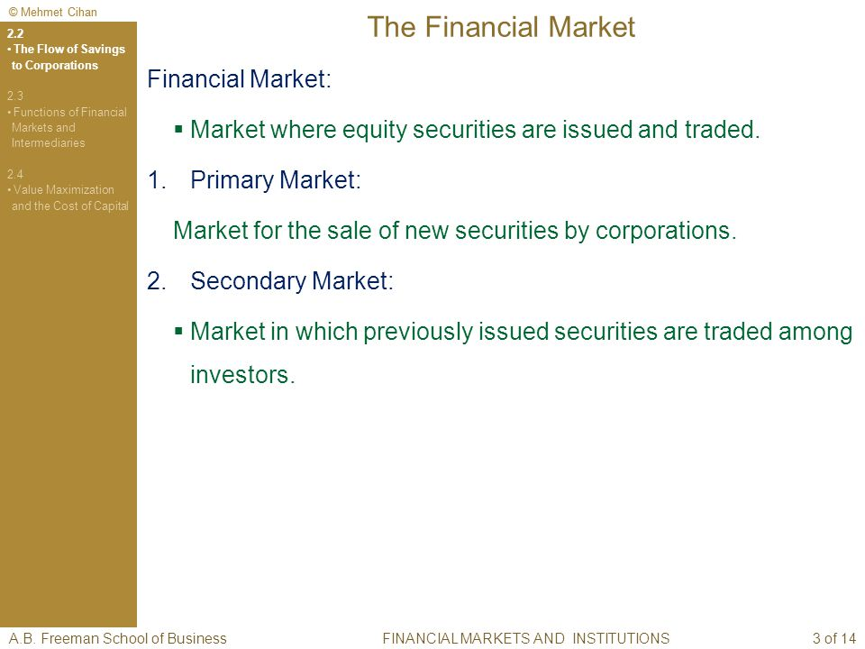 © Mehmet Cihan The Financial Market Financial Market: Market where equity securities are issued and traded.