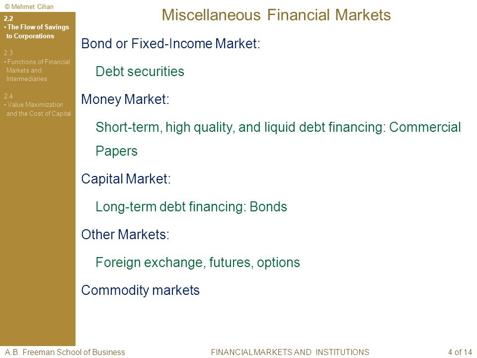 © Mehmet Cihan Miscellaneous Financial Markets Bond or Fixed-Income Market: Debt securities Money Market: Short-term, high quality, and liquid debt financing: Commercial Papers Capital Market: Long-term debt financing: Bonds Other Markets: Foreign exchange, futures, options Commodity markets A.B.