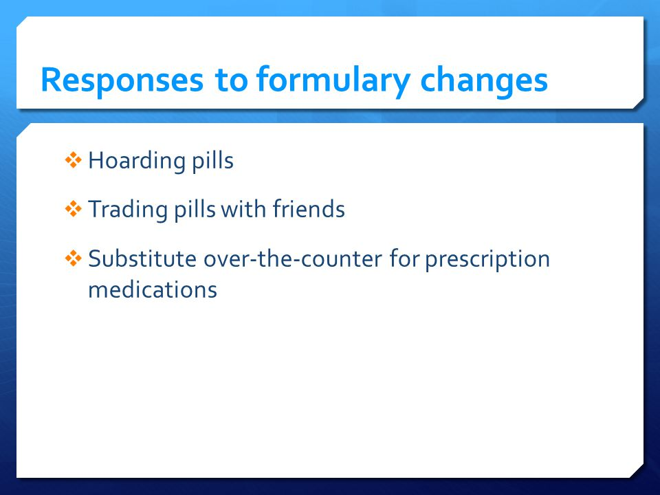 Responses to formulary changes Hoarding pills Trading pills with friends Substitute over-the-counter for prescription medications