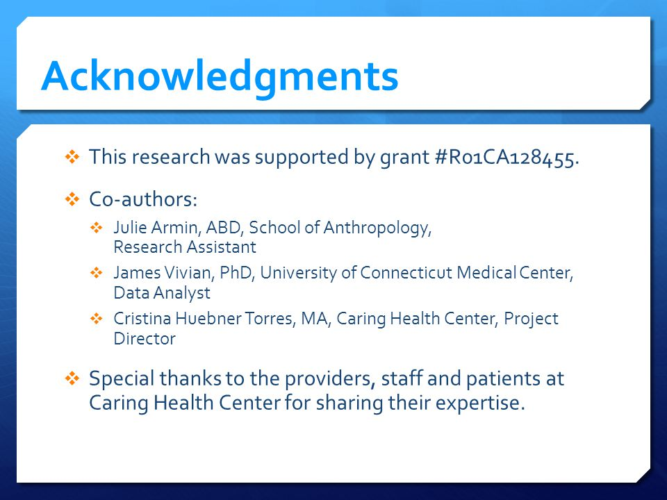 Acknowledgments This research was supported by grant #R01CA128455.