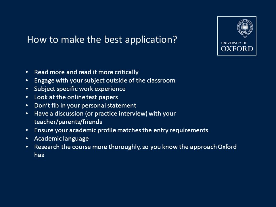 How to make the best application.