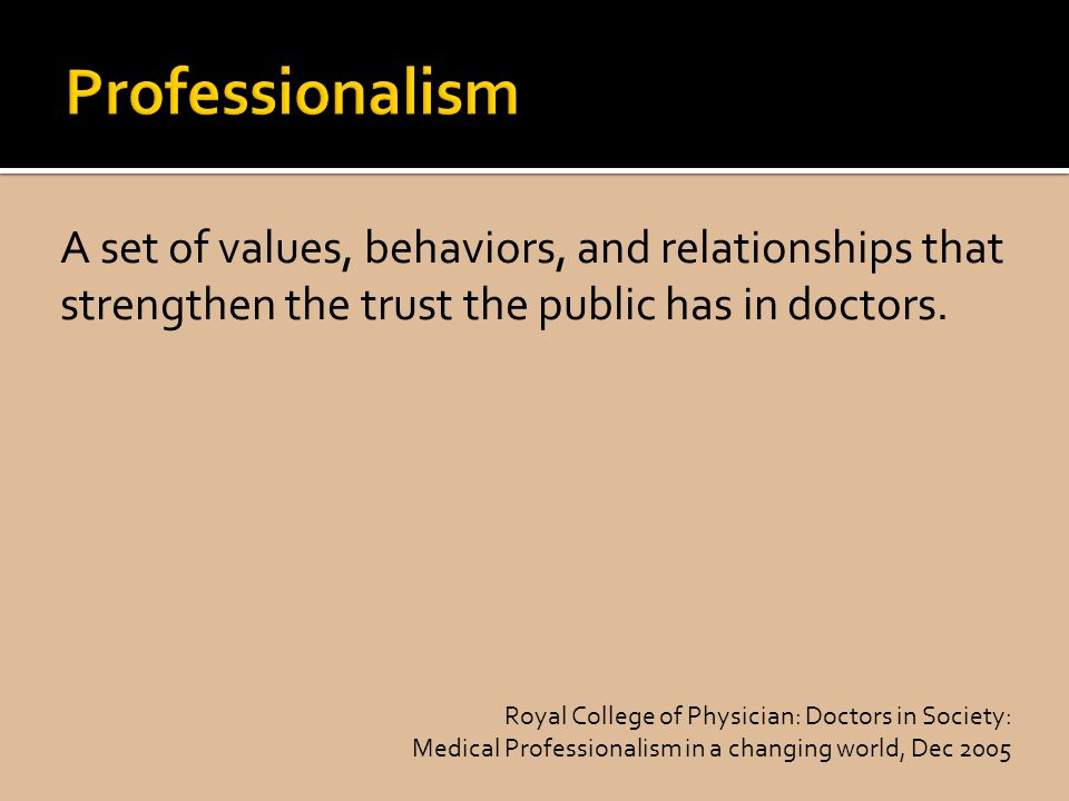 A set of values, behaviors, and relationships that strengthen the trust the public has in doctors.