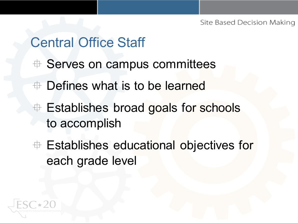 Serves on campus committees Defines what is to be learned Establishes broad goals for schools to accomplish Establishes educational objectives for each grade level Central Office Staff