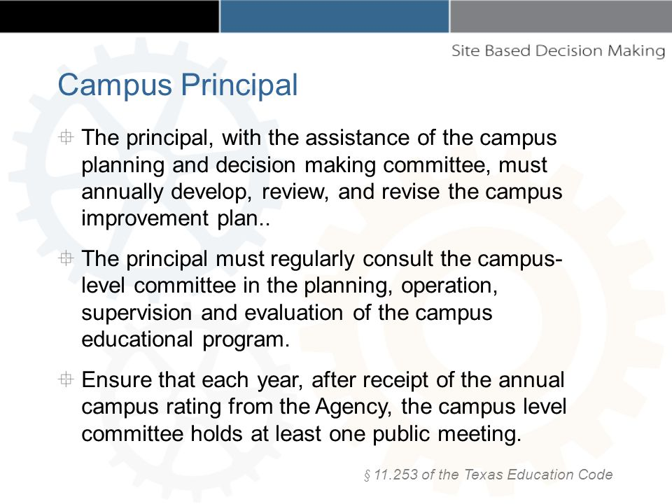The principal, with the assistance of the campus planning and decision making committee, must annually develop, review, and revise the campus improvement plan..