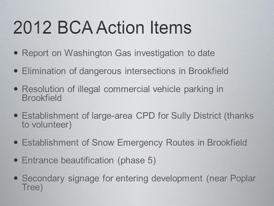 Report on Washington Gas investigation to date Report on Washington Gas investigation to date Elimination of dangerous intersections in Brookfield Elimination of dangerous intersections in Brookfield Resolution of illegal commercial vehicle parking in Brookfield Resolution of illegal commercial vehicle parking in Brookfield Establishment of large-area CPD for Sully District (thanks to volunteer) Establishment of large-area CPD for Sully District (thanks to volunteer) Establishment of Snow Emergency Routes in Brookfield Establishment of Snow Emergency Routes in Brookfield Entrance beautification (phase 5) Entrance beautification (phase 5) Secondary signage for entering development (near Poplar Tree) Secondary signage for entering development (near Poplar Tree)