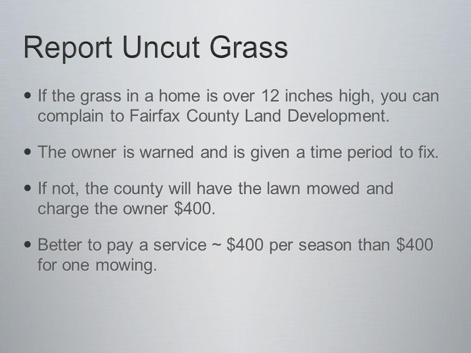 If the grass in a home is over 12 inches high, you can complain to Fairfax County Land Development.