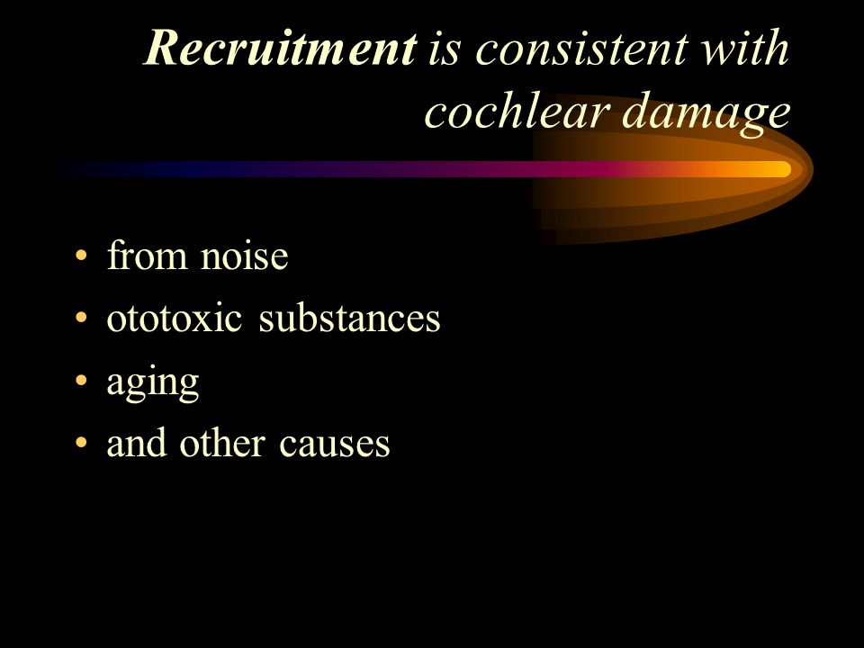 Recruitment is consistent with cochlear damage from noise ototoxic substances aging and other causes