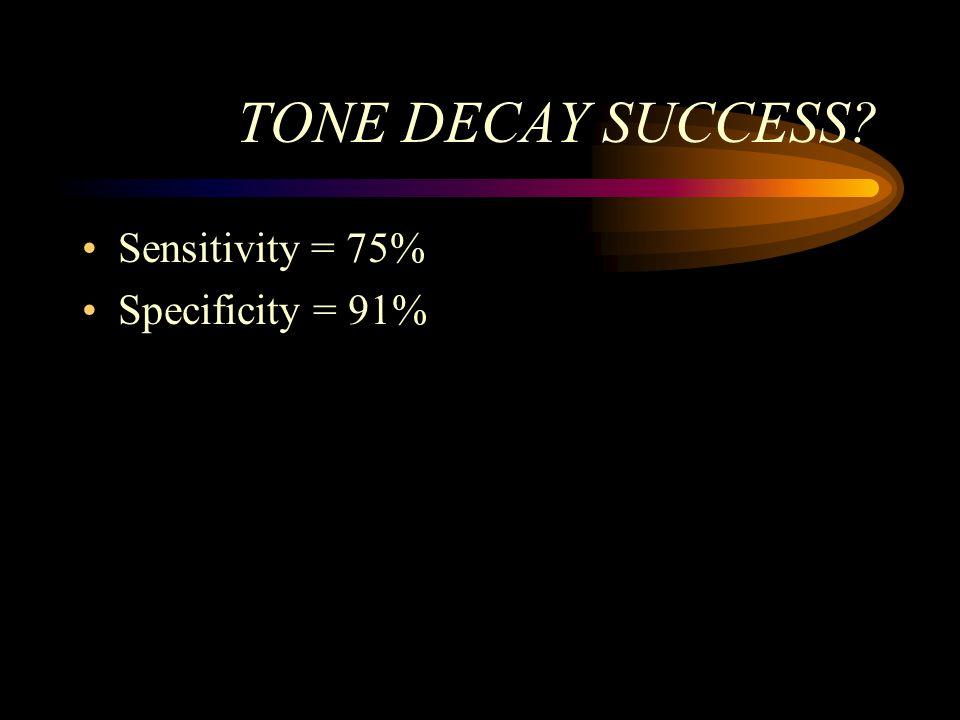 TONE DECAY SUCCESS? Sensitivity = 75% Specificity = 91%