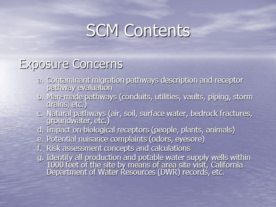 SCM Contents Exposure Concerns a.Contaminant migration pathways description and receptor pathway evaluation b.Man-made pathways (conduits, utilities,