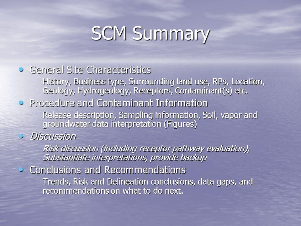 SCM Summary General Site Characteristics General Site Characteristics History, Business type, Surrounding land use, RPs, Location, Geology, Hydrogeolo