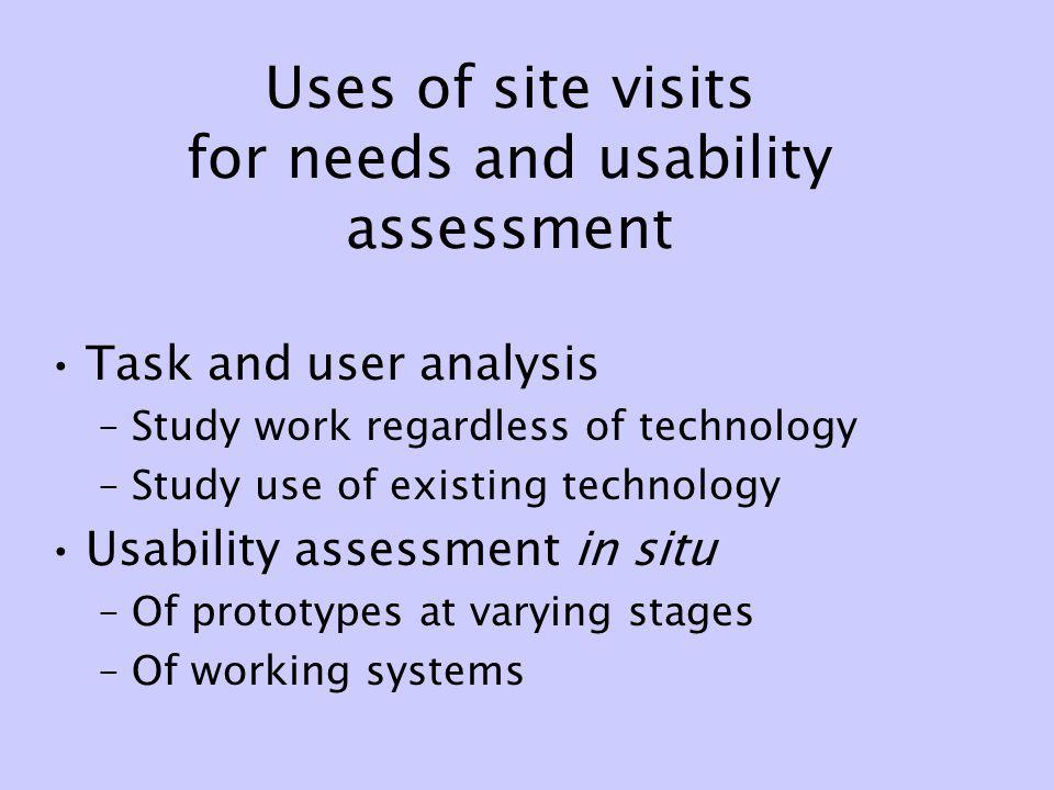Uses of site visits for needs and usability assessment Task and user analysis –Study work regardless of technology –Study use of existing technology U