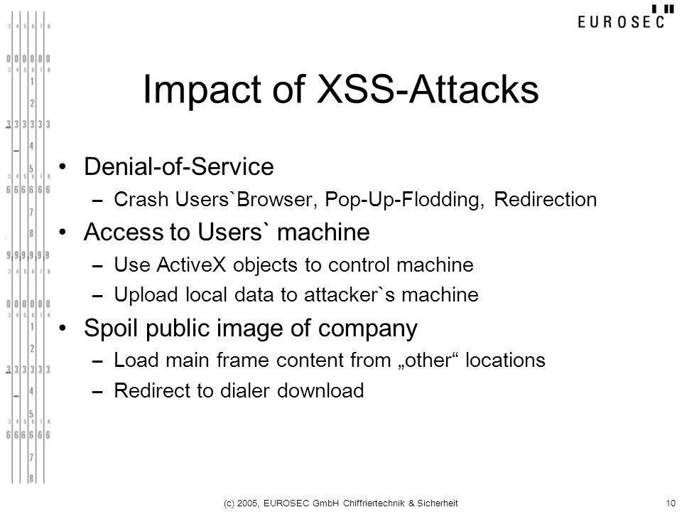 (c) 2005, EUROSEC GmbH Chiffriertechnik & Sicherheit10 Impact of XSS-Attacks Denial-of-Service –Crash Users`Browser, Pop-Up-Flodding, Redirection Acce