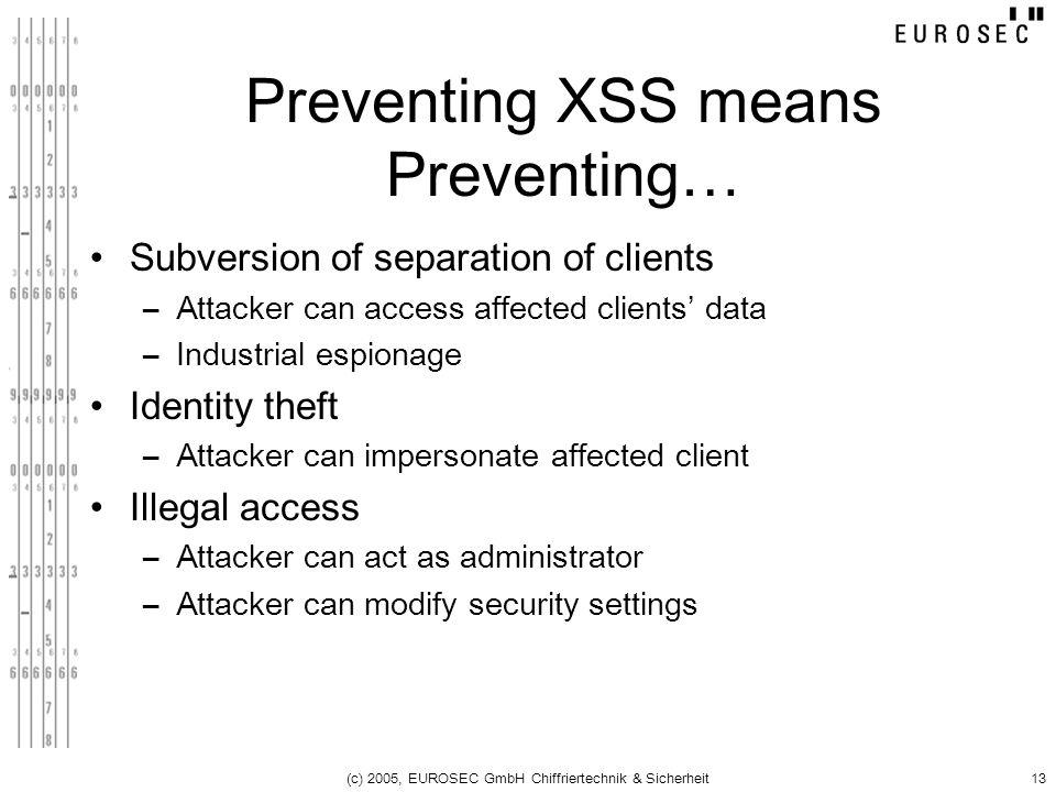 (c) 2005, EUROSEC GmbH Chiffriertechnik & Sicherheit13 Preventing XSS means Preventing… Subversion of separation of clients –Attacker can access affec