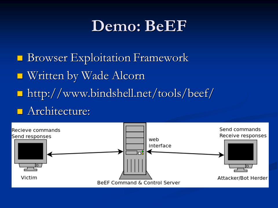 Demo: BeEF Browser Exploitation Framework Browser Exploitation Framework Written by Wade Alcorn Written by Wade Alcorn http://www.bindshell.net/tools/