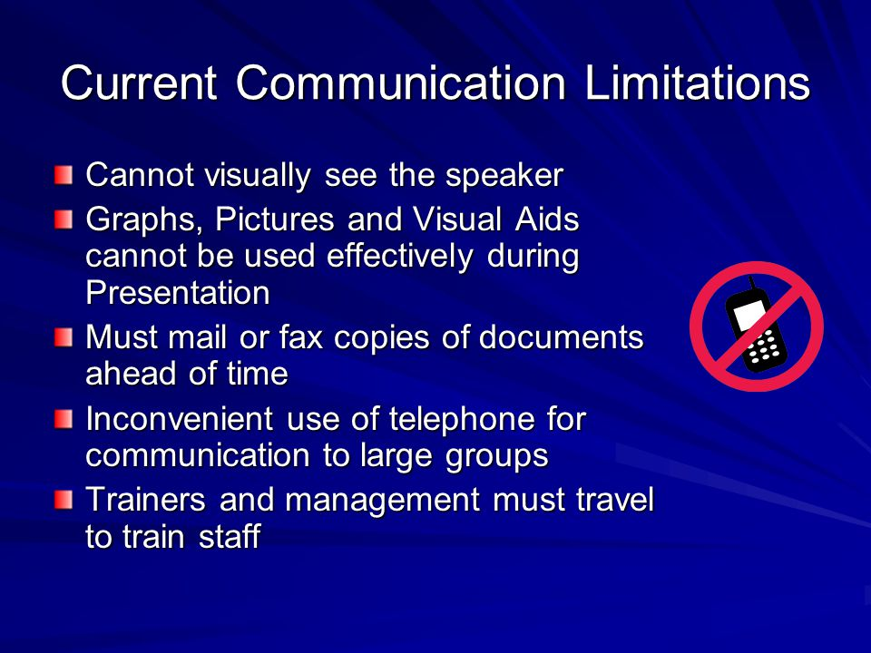 Current Communication Limitations Cannot visually see the speaker Graphs, Pictures and Visual Aids cannot be used effectively during Presentation Must mail or fax copies of documents ahead of time Inconvenient use of telephone for communication to large groups Trainers and management must travel to train staff