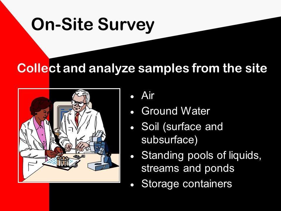 On-Site Survey note land features identify natural wind barriers determine potential pathways of dispersion locate buried waste or contaminant plumes by using remote sensing if possible