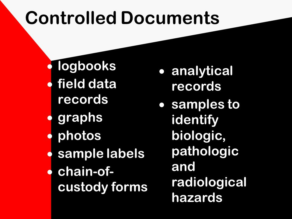 What types of documents need to be controlled Logbook