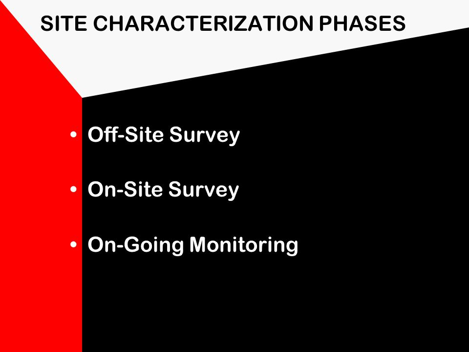 Site Characterization Project Team Leader is responsible for site characterization and assessment. Information provided is needed to identify site haz
