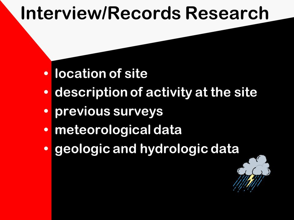 Off-Site Characterization interviews/records research perimeter reconnaissance