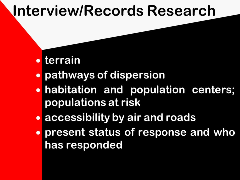 Interview/Records Research location of site description of activity at the site previous surveys meteorological data geologic and hydrologic data