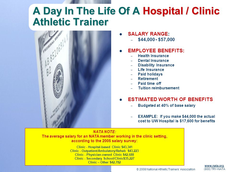 © 2008 National Athletic Trainers Association www.nata.org (800) TRY-NATA A Day In The Life Of A Hospital / Clinic Athletic Trainer SALARY RANGE: – $4