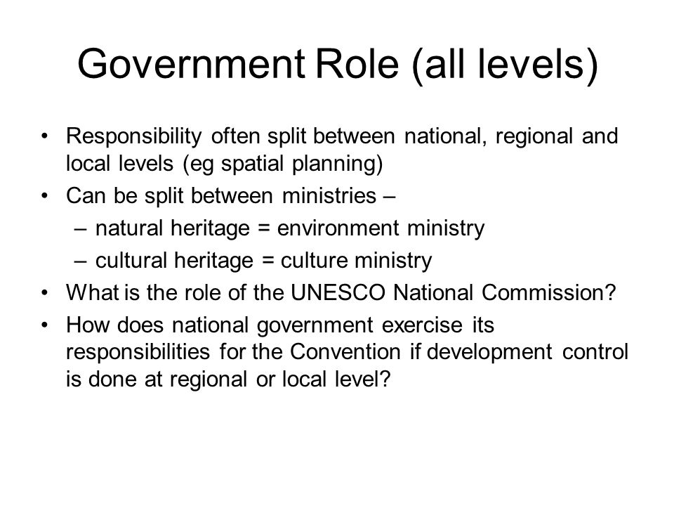 Government Role (all levels) Responsibility often split between national, regional and local levels (eg spatial planning) Can be split between ministr