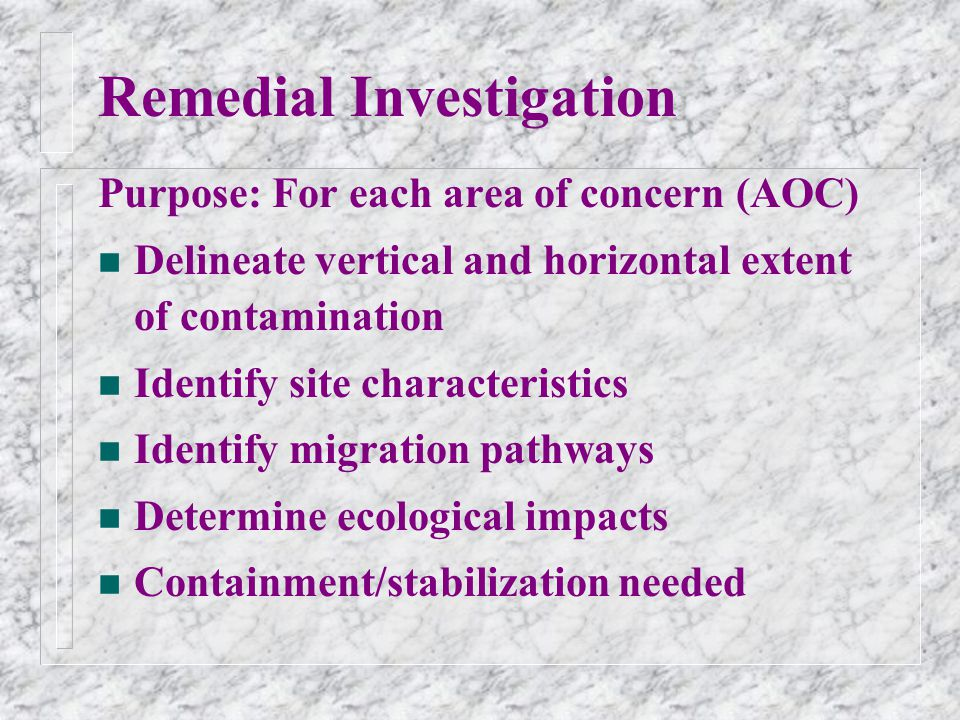 Remedial Investigation Purpose: For each area of concern (AOC) n Delineate vertical and horizontal extent of contamination n Identify site characteristics n Identify migration pathways n Determine ecological impacts n Containment/stabilization needed