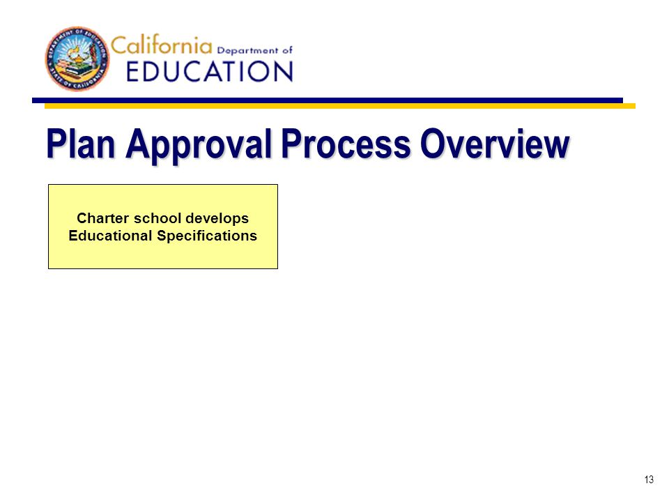 13 Plan Approval Process Overview Charter school develops Educational Specifications