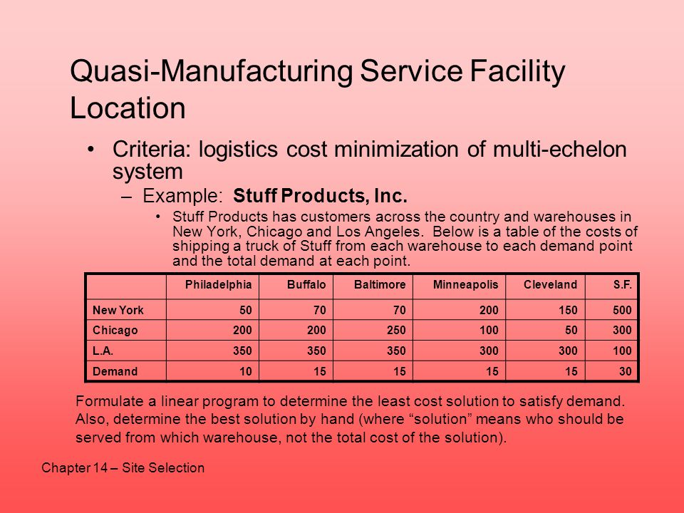 Quasi-Manufacturing Service Facility Location Criteria: logistics cost minimization of multi-echelon system –Example: Stuff Products, Inc. Stuff Produ