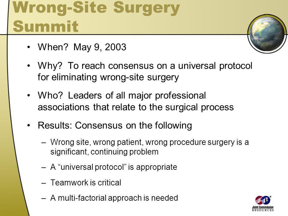17 Wrong-Site Surgery Summit When? May 9, 2003 Why? To reach consensus on a universal protocol for eliminating wrong-site surgery Who? Leaders of all