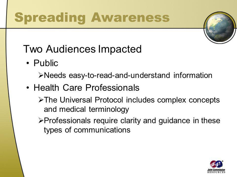 20 Spreading Awareness Two Audiences Impacted Public Needs easy-to-read-and-understand information Health Care Professionals The Universal Protocol in