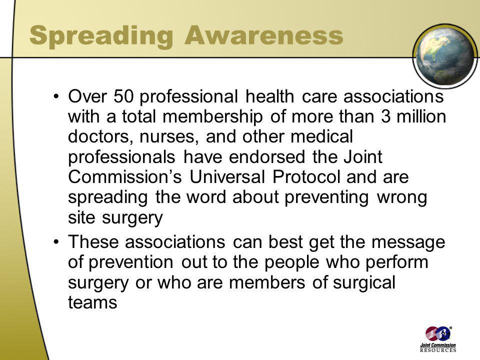 21 Spreading Awareness Over 50 professional health care associations with a total membership of more than 3 million doctors, nurses, and other medical