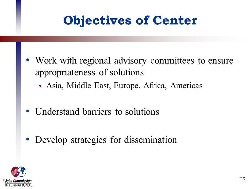 29 Objectives of Center Work with regional advisory committees to ensure appropriateness of solutions Asia, Middle East, Europe, Africa, Americas Unde