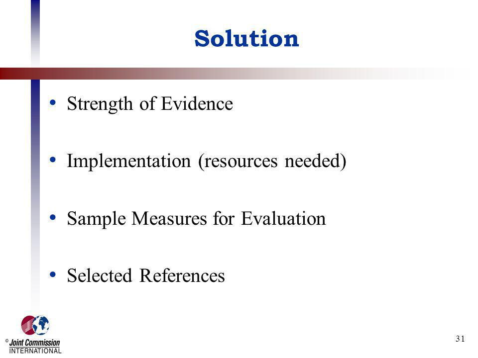 31 Solution Strength of Evidence Implementation (resources needed) Sample Measures for Evaluation Selected References