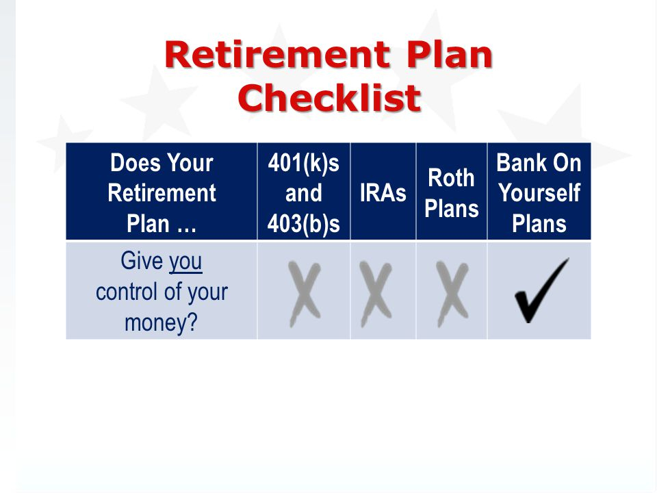 Retirement Plan Checklist Does Your Retirement Plan … 401(k)s and 403(b)s IRAs Roth Plans Bank On Yourself Plans Give you control of your money?