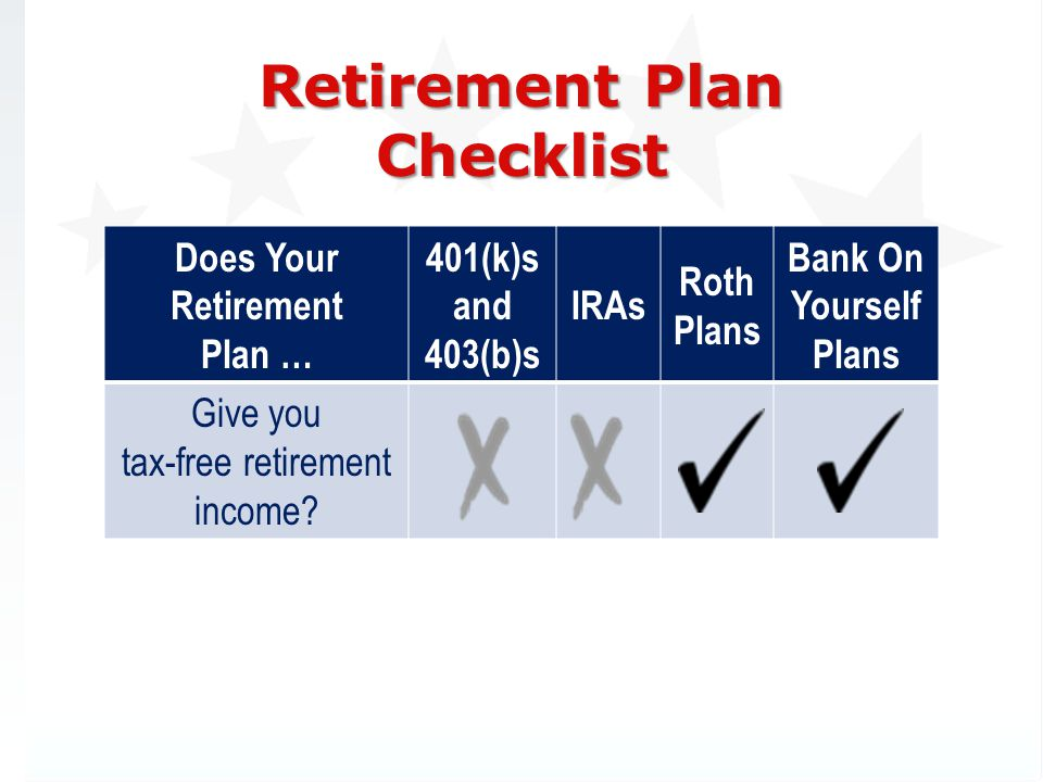 Retirement Plan Checklist Does Your Retirement Plan … 401(k)s and 403(b)s IRAs Roth Plans Bank On Yourself Plans Give you tax-free retirement income?