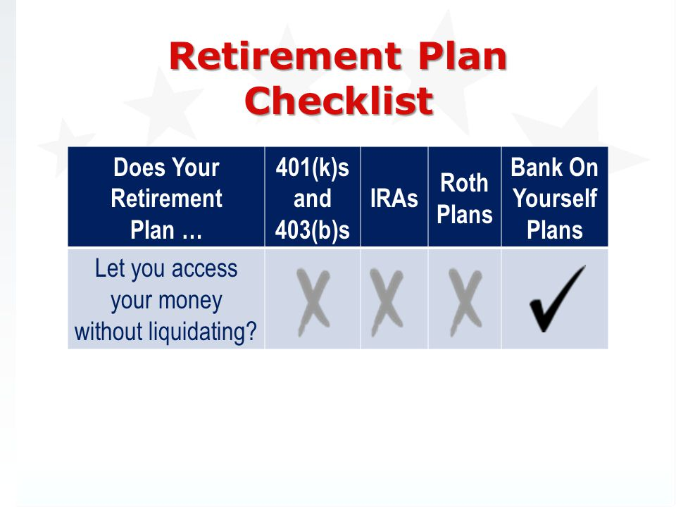 Retirement Plan Checklist Does Your Retirement Plan … 401(k)s and 403(b)s IRAs Roth Plans Bank On Yourself Plans Let you access your money without liquidating?