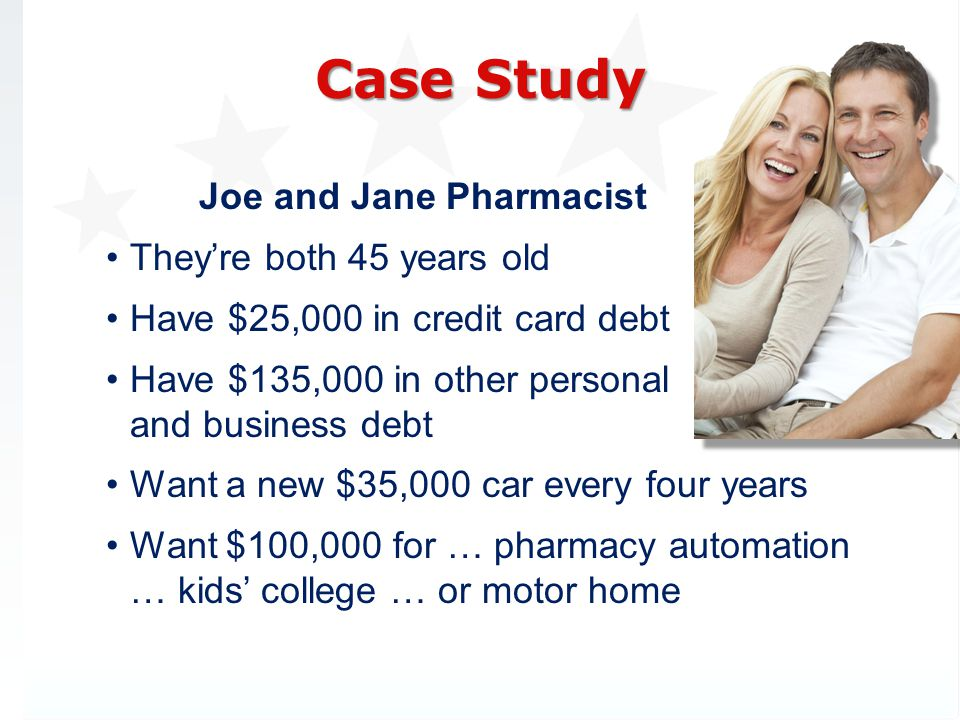 Joe and Jane Pharmacist Theyre both 45 years old Have $25,000 in credit card debt Have $135,000 in other personal and business debt Want a new $35,000 car every four years Want $100,000 for … pharmacy automation … kids college … or motor home Case Study