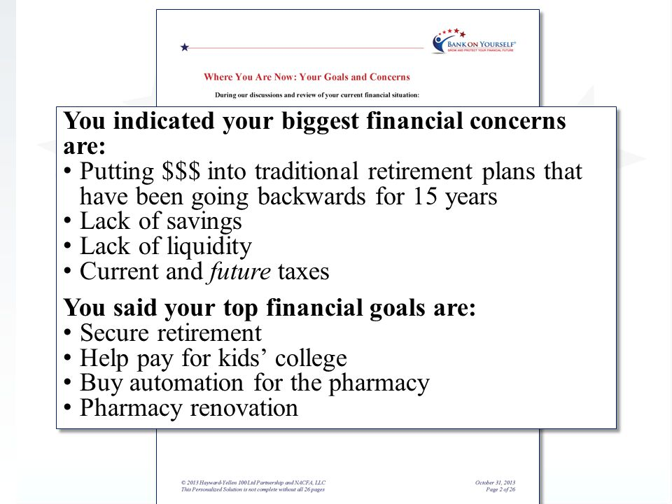 You indicated your biggest financial concerns are: Putting $$$ into traditional retirement plans that have been going backwards for 15 years Lack of savings Lack of liquidity Current and future taxes You said your top financial goals are: Secure retirement Help pay for kids college Buy automation for the pharmacy Pharmacy renovation You indicated your biggest financial concerns are: Putting $$$ into traditional retirement plans that have been going backwards for 15 years Lack of savings Lack of liquidity Current and future taxes You said your top financial goals are: Secure retirement Help pay for kids college Buy automation for the pharmacy Pharmacy renovation