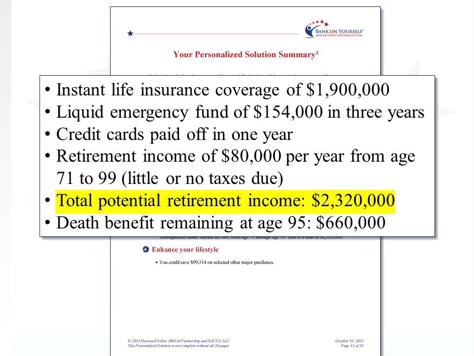 Instant life insurance coverage of $1,900,000 Liquid emergency fund of $154,000 in three years Credit cards paid off in one year Retirement income of $80,000 per year from age 71 to 99 (little or no taxes due) Death benefit remaining at age 95: $660,000 Instant life insurance coverage of $1,900,000 Liquid emergency fund of $154,000 in three years Credit cards paid off in one year Retirement income of $80,000 per year from age 71 to 99 (little or no taxes due) Death benefit remaining at age 95: $660,000 Total potential retirement income: $2,320,000