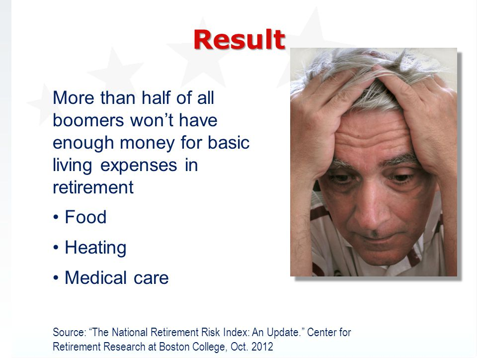 More than half of all boomers wont have enough money for basic living expenses in retirement Food Heating Medical care Source: The National Retirement Risk Index: An Update.