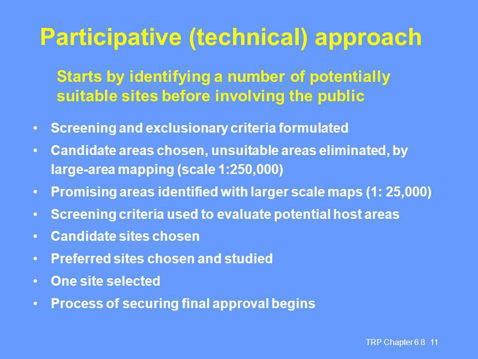 TRP Chapter Participative (technical) approach Screening and exclusionary criteria formulated Candidate areas chosen, unsuitable areas eliminated, by large-area mapping (scale 1:250,000) Promising areas identified with larger scale maps (1: 25,000) Screening criteria used to evaluate potential host areas Candidate sites chosen Preferred sites chosen and studied One site selected Process of securing final approval begins Starts by identifying a number of potentially suitable sites before involving the public