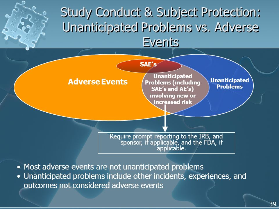 39 Study Conduct & Subject Protection: Unanticipated Problems vs.