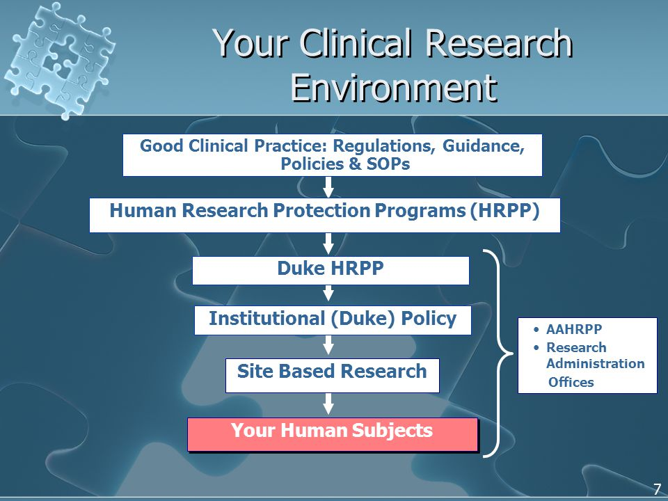 7 Your Clinical Research Environment Your Human Subjects Good Clinical Practice: Regulations, Guidance, Policies & SOPs Duke HRPP Site Based Research Institutional (Duke) Policy Human Research Protection Programs (HRPP) AAHRPP Research Administration Offices