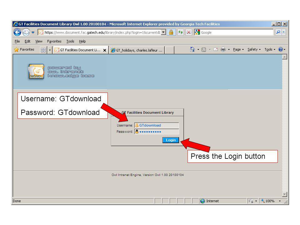 Username: GTdownload Password: GTdownload Press the Login button